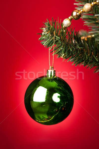 Verde gingillo albero di natale primo piano decorativo albero Foto d'archivio © AndreyPopov