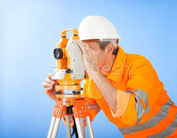 Senior land surveyor with theodolite Stock photo © AndreyPopov