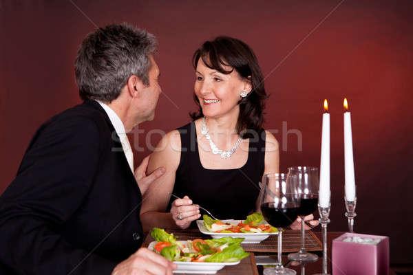 çift romantik akşam yemeği restoran olgun kadın Stok fotoğraf © AndreyPopov