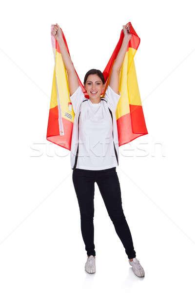 Foto stock: Retrato · mujer · bandera · española · feliz · mujer · bonita