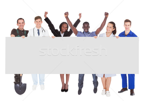 Successful People With Different Occupations Holding Billboard Stock photo © AndreyPopov