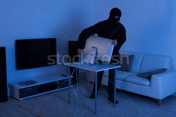 Thief Stealing Computer Monitor From Living Room Stock photo © AndreyPopov