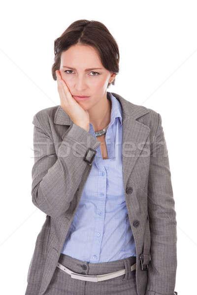 Stock fotó: üzletasszony · szenvedés · fogfájás · portré · fiatal · fehér