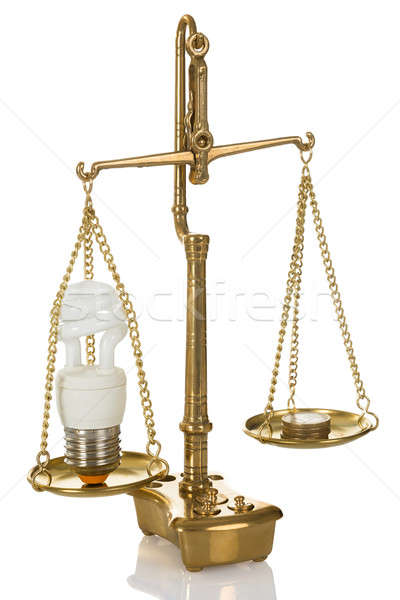 Lightbulb And Coins On Scale Stock photo © AndreyPopov