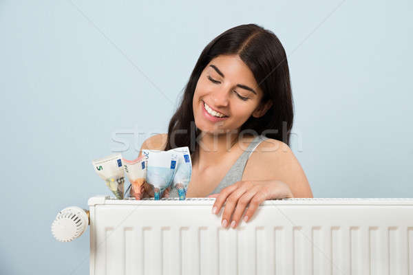 Woman With Banknote Inside Radiator Stock photo © AndreyPopov