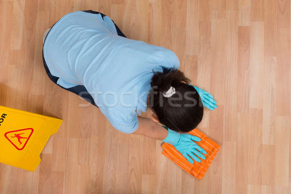 Woman Rubbing Wooden Floor With Cloth Stock photo © AndreyPopov