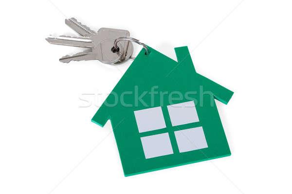 Zdjęcia stock: Zielone · papieru · domu · klucze · biały