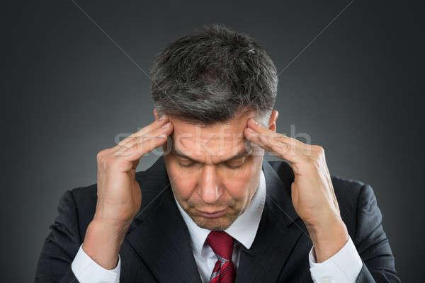 ビジネスマン 頭痛 悲しい 黒 執行 ストックフォト © AndreyPopov