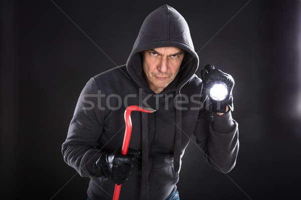肖像 男性 泥棒 黒 懐中電灯 ストックフォト © AndreyPopov