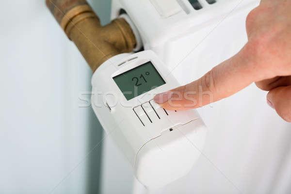 Persona temperatura termostato view mano Foto d'archivio © AndreyPopov