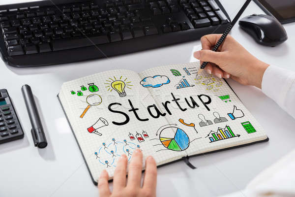 Woman Drawing Start Up Chart On Notebook Stock photo © AndreyPopov