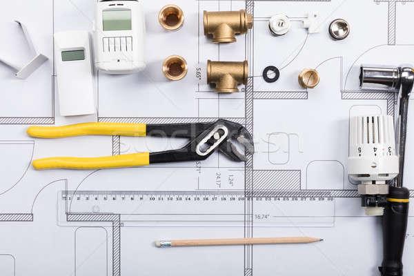 Thermostat travaux outils blueprints vue bureau Photo stock © AndreyPopov