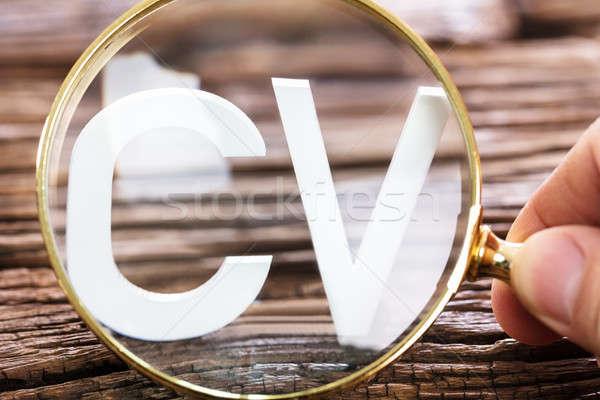 Cv woord vergrootglas persoon naar witte Stockfoto © AndreyPopov
