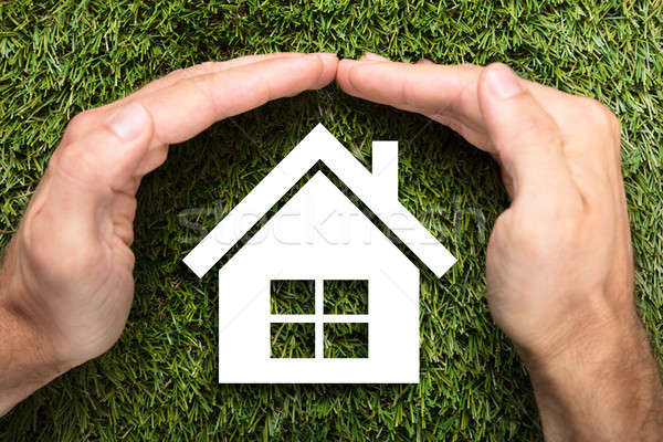 Businessman's Hands Covering Paper House On Grass Stock photo © AndreyPopov