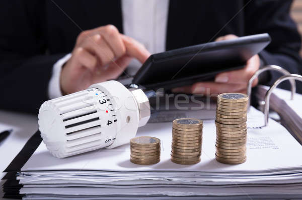 Businesswoman Calculating Invoice With Thermostat And Coins Stock photo © AndreyPopov