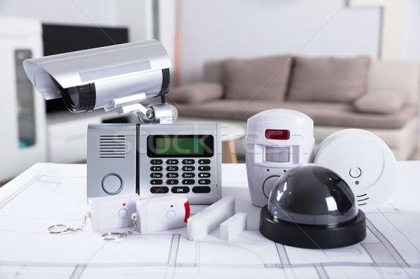 Közelkép biztonság felszerelések otthon biztonsági felszerelés terv Stock fotó © AndreyPopov