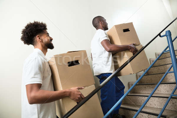 Two Young Male Worker Holding Cardboard Boxes Stock photo © AndreyPopov