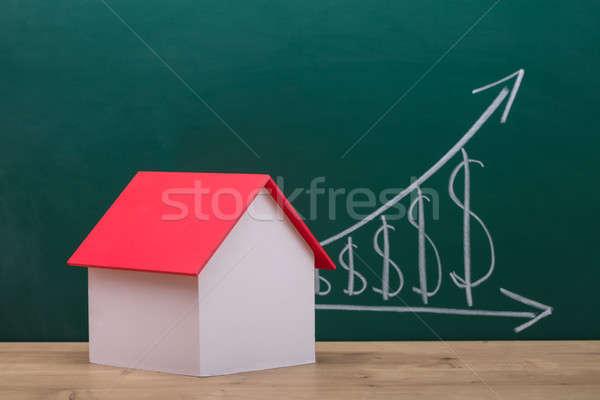 Ház modell piros tető közelkép fából készült Stock fotó © AndreyPopov