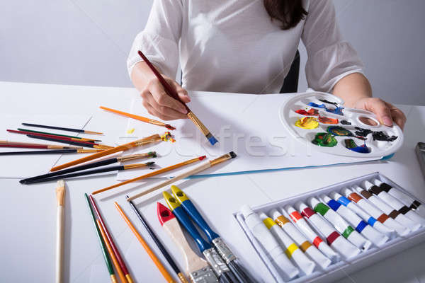 女性 アーティスト 絵画 キャンバス 紙 手 ストックフォト © AndreyPopov