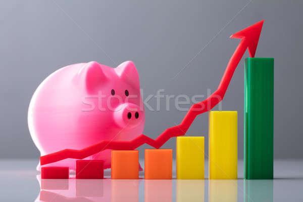 üzleti grafikon nyíl jelzés mutat irányítás rózsaszín persely Stock fotó © AndreyPopov
