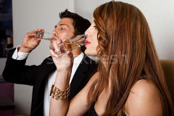 Pár iszik szeszes ital étterem éjszakai klub buli Stock fotó © AndreyPopov