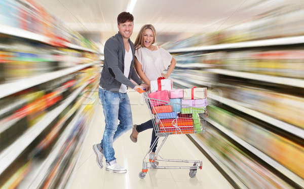 Couple With Shopping Cart Stock photo © AndreyPopov