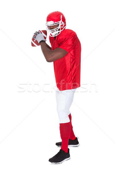 американский футболист мяч для регби портрет белый Сток-фото © AndreyPopov