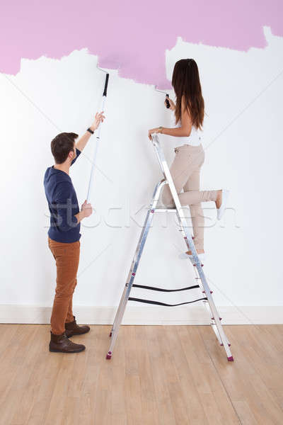 Couple Painting New House Stock photo © AndreyPopov