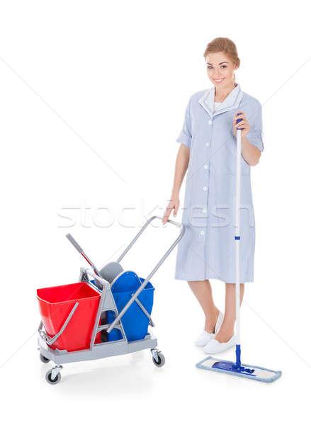 Homme soubrette nettoyage étage portrait jeunes Photo stock © AndreyPopov