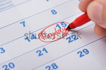 Hand Marking Birthday On Calendar Stock photo © AndreyPopov