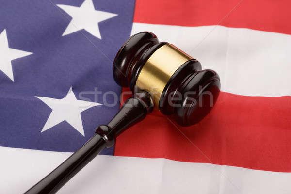 Wooden Gavel Over Usa Flag Stock photo © AndreyPopov