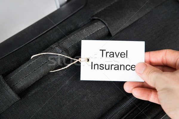 Hand Holding Travel Insurance Tag Stock photo © AndreyPopov