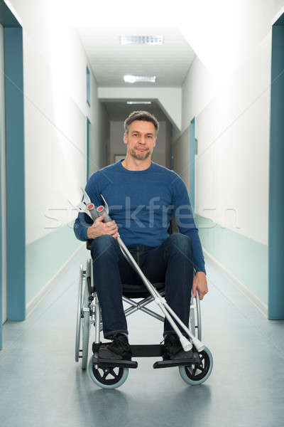 男 座って 車いす 松葉杖 肖像 階 ストックフォト © AndreyPopov
