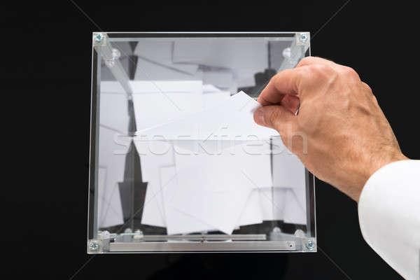 Kişi eller oylama kutu Stok fotoğraf © AndreyPopov