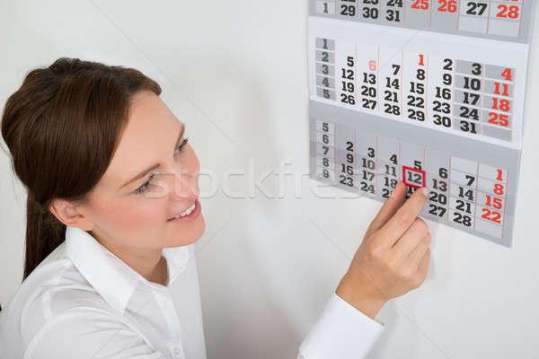 Empresária vermelho calendário data Foto stock © AndreyPopov