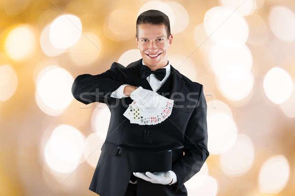 маг трюк игральных карт портрет молодые Сток-фото © AndreyPopov