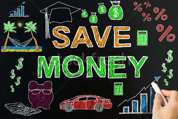 Person Drawing Save Money Concept On Blackboard Stock photo © AndreyPopov