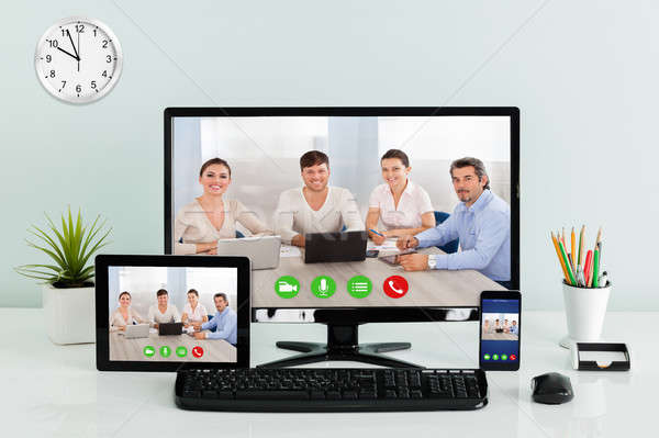 Computer Desktop With Digital Tablet And Mobilephone On Desk Stock photo © AndreyPopov