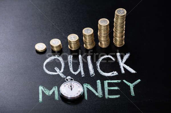 Quick Money Concept On Blackboard Stock photo © AndreyPopov