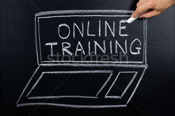 Online formazione programma scritto lavagna primo piano Foto d'archivio © AndreyPopov