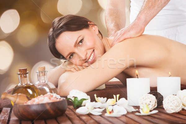 Stockfoto: Vrouw · schouder · massage · gelukkig · spa