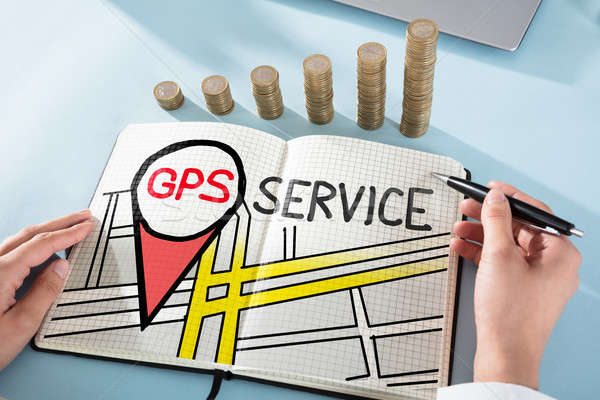 Woman Drawing GPS Service Concept Stock photo © AndreyPopov