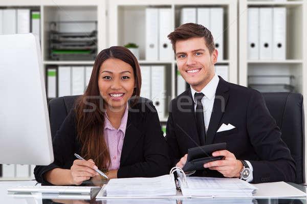 Dwa pracy biuro portret uśmiechnięty Zdjęcia stock © AndreyPopov