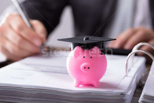 Tirelire graduation cap rose document Photo stock © AndreyPopov