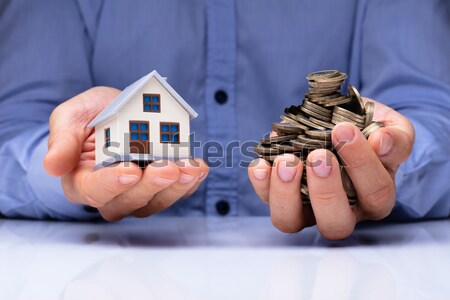 Businessperson Protecting Risk Wooden Blocks Stock photo © AndreyPopov