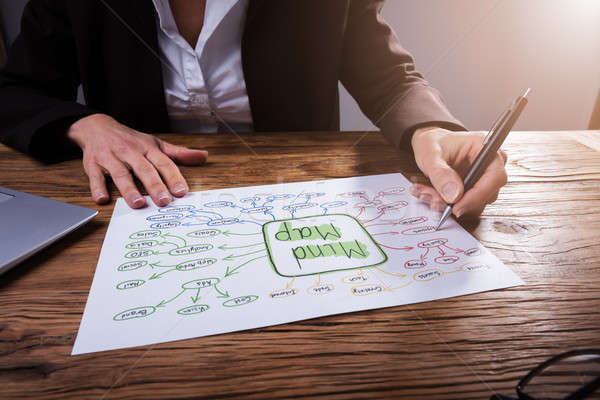 Businessperson Drawing Mind Map Stock photo © AndreyPopov