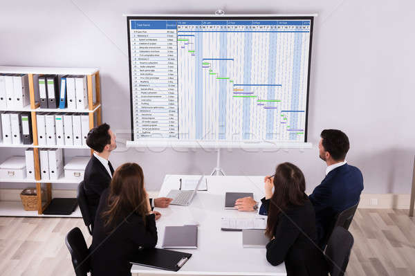 Businesspeople Analyzing Gantt Chart Stock photo © AndreyPopov