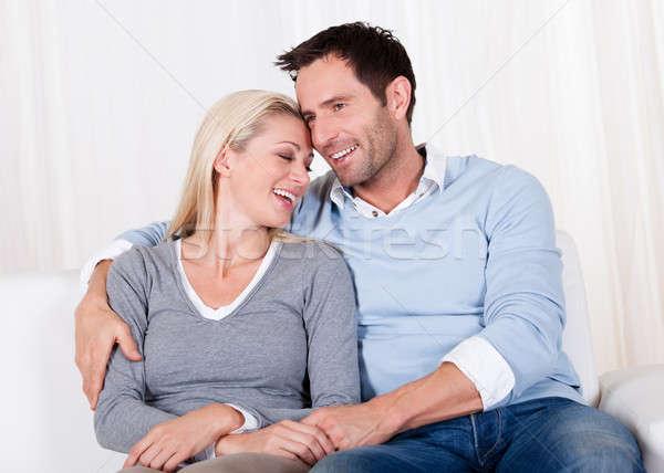 Romantic couple rubbing noses Stock photo © AndreyPopov