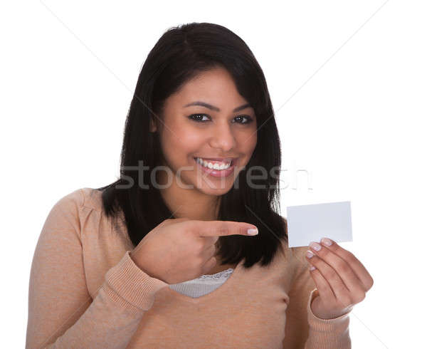 Young Woman Pointing At Visiting Card Stock photo © AndreyPopov