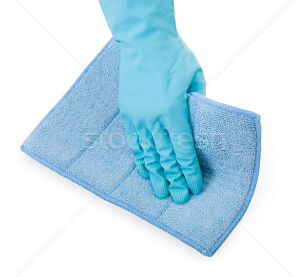 Person Wiping With Blue Cloth Stock photo © AndreyPopov